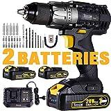 Drill Driver, 20V Cordless Drill 2x2000mAh Batteries, 30Min Fast...