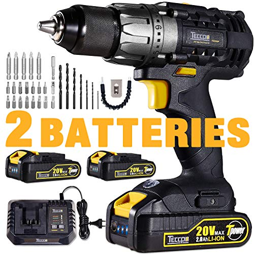 Drill Driver, 20V Cordless Drill 2x2000mAh Batteries, 30Min Fast Charger 4.0A, 29pcs Accessories, 24+1 Torque Setting, 2-Variable Speed Max Torque 530 In-lbs, 1/2″ Metal Keyless Chuck