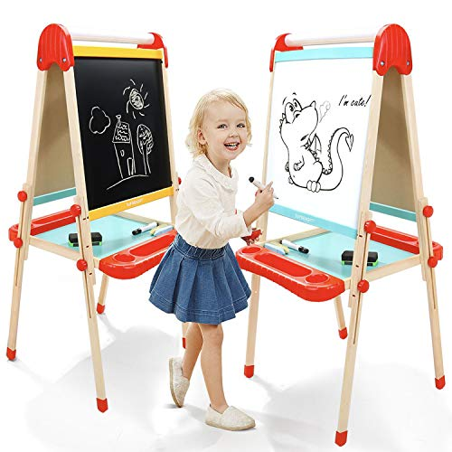 TOP BRIGHT Wooden Art Easel for Kids, Childrens Easel with Magnetic Chalkboard,Toddlers Easel Adjustable with Paper Roll ()