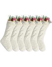 "Kunyida Pack 6,18"" Unique Ivory White Knit Christmas Stockings"
