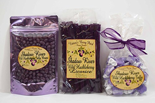Shadow River Wild Huckleberry Candy Sampler (Licorice, Taffy, Jelly Beans) (Licorice Gift)