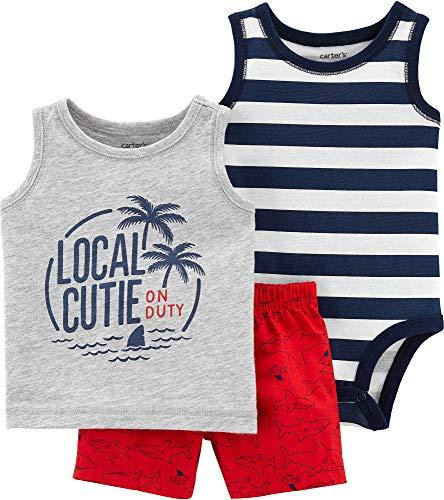 - Carter's Baby Boys' 3-Piece Palm Trees Little Short Set- Navy (18 Months)