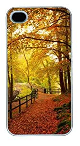 Gold Autumn Polycarbonate Hard Case Cover for iPhone 4/4S White
