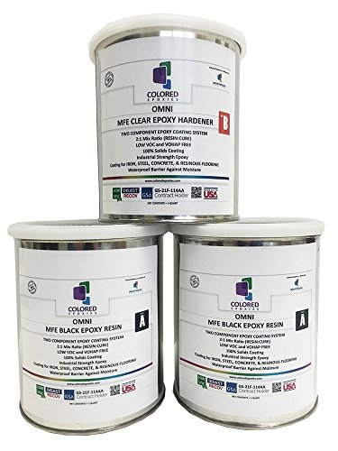 Coloredepoxies 10005 Black Epoxy Resin Coating Made with Beautiful and Vibrant Pigments, 100% Solids, For Garage Floors, Basements, Concrete and Plywood. 3 Quart (Epoxy Concrete Paint)