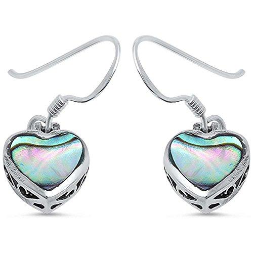 Abalone Heart Earrings - Abalone Shell Heart .925 Sterling Silver Earring