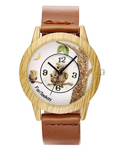 Top Plaza Light Brown Wood Grain Unisex Fashion Watch - Analog Quartz Alloy Case Owls Dial PU Leather Daily Waterproof