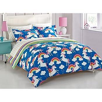 Amazon Com 6 Piece Girls Unicorn Rainbow Comforter Set