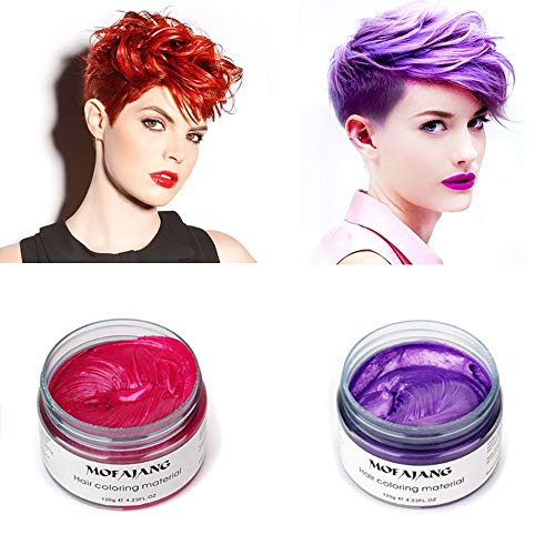 MOFAJANG Temporary Hair Color Wax,2 Colors - Red, Purple, Fun and Effective Modeling Fashion DIY Hair for Show,Party, Cosplay, Halloween, -