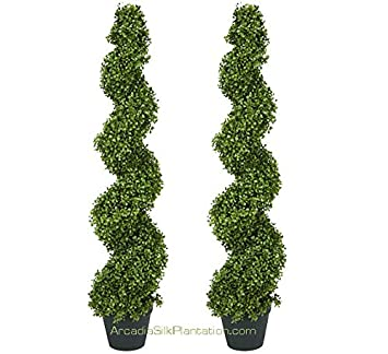 Amazon.com - TWO Pre-potted 4' Spiral Boxwood Artificial Topiary ...