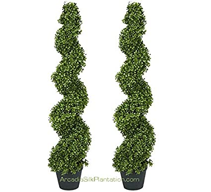 Outdoor Topiary Trees With Lights Amazon two pre potted 4 spiral boxwood artificial topiary two pre potted 4 spiral boxwood artificial topiary trees workwithnaturefo