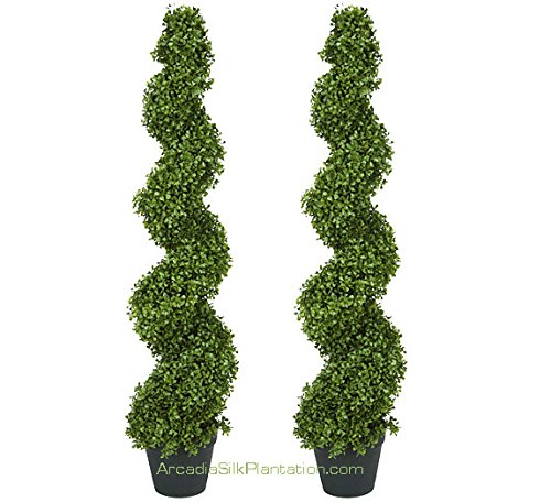 TWO Pre-potted 4' Spiral Boxwood Artificial Topiary Trees. In Plastic Pot by Arcadia Silk Plantation