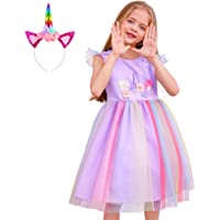 Play Tailor Toddler Girls Unicorn Tutu Dress Tulle Skirt with Headband for Kids 3-8Y