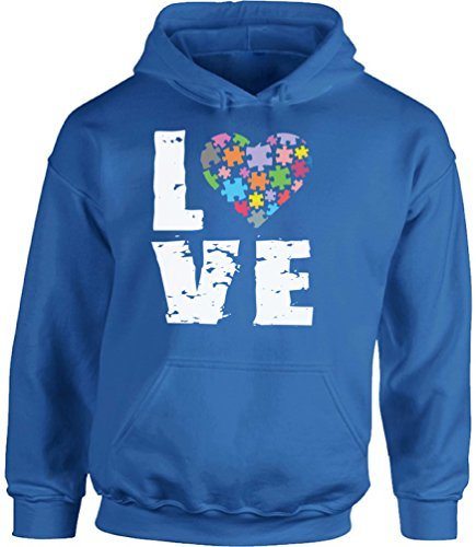 Awkward Styles Autism Love Puzzle Hooded Sweatshirt Autism Awareness Hoodies Blue -