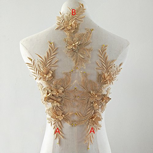 - beaded flower sequence lace applique motif sewing bridal wedding 3in1 A5 3D (Gold)