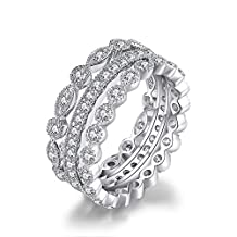 JewelryPalace 2.1ct Cubic Zirconia 3 Stackable Wedding Band Rings Bridal Sets 925 Sterling Silver