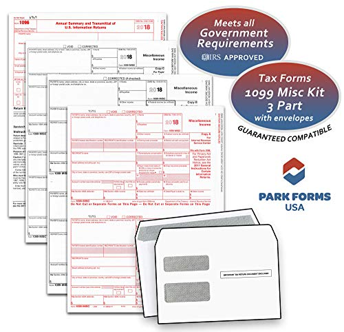 2018 Laser Tax Forms - 1099-MISC Income 3-Part Set & Envelope Kit for 25 Individuals - Park Forms (1099 Laser Forms Kit)