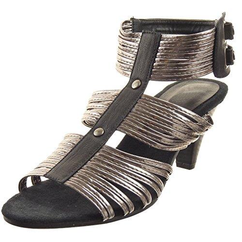 Sopily - Scarpe da Moda sandali alla caviglia donna lucide multi-briglia borchiati Tacco a cono tacco alto 6.5 CM - Nero