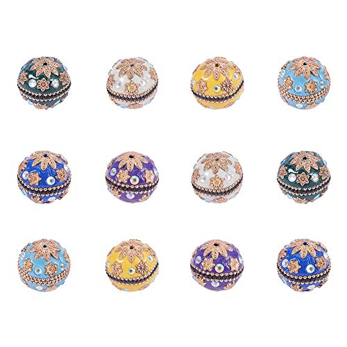 PandaHall Elite 12 Pcs Handmade Flower Pattern Fimo Polymer Clay Ball 24mm Round Spacer Beads 6 Styles for Jewelry Making - Pave Pattern