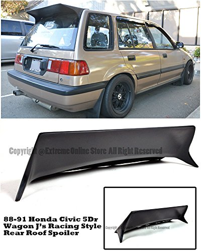 For 88-91 Honda Civic EE2 EE4 Wagon J's Racing Style Rear Top Roof Spoiler Wing Lip 1988 1989 1990 1991 88 89 90 91 JDM ()