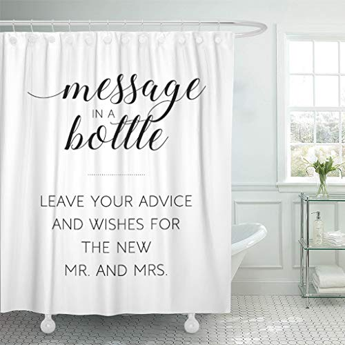 Semtomn Shower Curtain Reception Wedding Message in Bottle Sign Advice Unique Guest 66