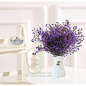 LUCKY SNAIL Fake Flowers, 4 Pcs Artificial Plum Blossom Flowers Baby Breath Plastic Silk Flowers Real Touch Blooms for Indoor Outdoors Wedding Party Home Garden Decoration. 4