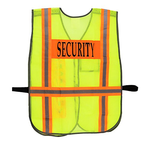 Security Safety Vest with Reflective Strips, One Size Fits All (10-Pack, Neon Lime) by New York Hi-Viz Workwear (Image #1)