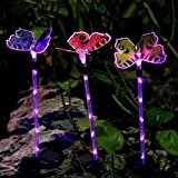 Bornran 3 Pack Butterfly Garden Solar Lights Outdoor Multi-color Changing LED Garden Stake Lights,Fiber Optic Butterfly Decorative Lights for Garden Patio Backyard (3, Butterfly+Purple Lighted Stake)