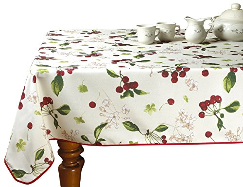 Violet Linen European Kitchen Cherries Vintage Tablecloth, 60