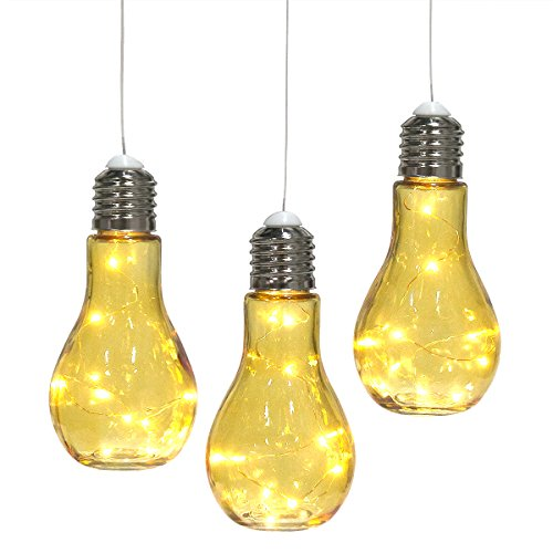 Set of 3 Hanging Bulb-Shaped Glass Lanterns Decorative Outdoor Lights Pendant Lamps Patio Party Lighting Weddings Backyard (Yellow Pendant Lamp)