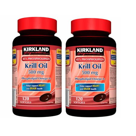 Kirkland Signature Krill Oil 500mg 45% Phospholipids Omega-3, 120 Small Softgels Helps Support Heart and Brain Health (2)
