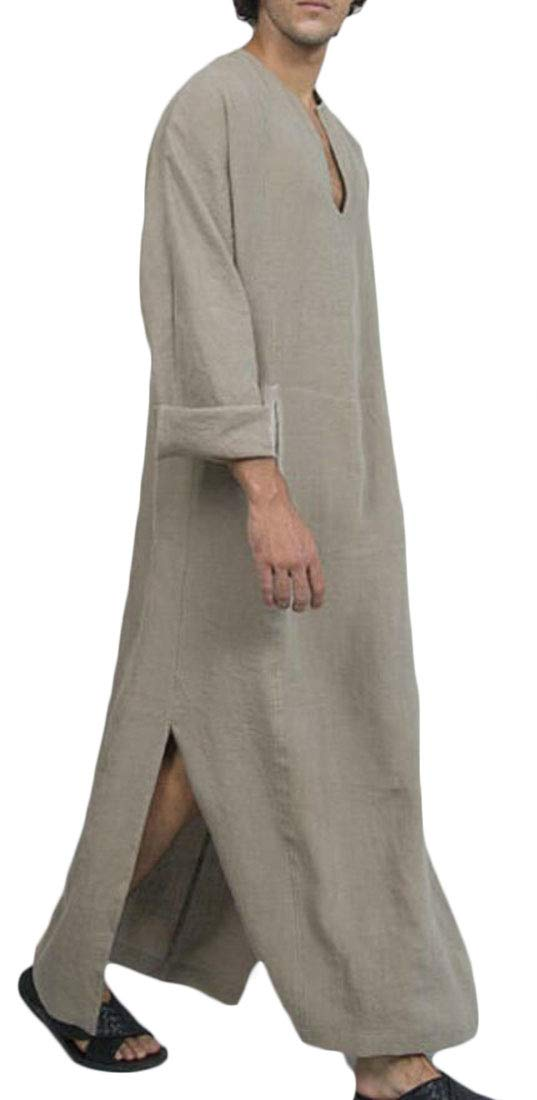 Domple Men Long Sleeve Dubai Islamic Linen Muslim Pockets Side Slit Robe Khaki XL