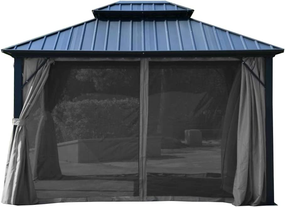 ALEKO GAZM10X12C UV Protectant Polyester Curtain Panels for Hardtop Gazebo 12 x 10 Feet Gray