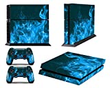 Skins for PS4 Controller – Decals for Playstation 4 Games – Stickers Cover for PS4 Console Sony Playstation Four Accessories PS4 Faceplate with Dualshock 4 Two Controllers Skin – Blue Fire For Sale