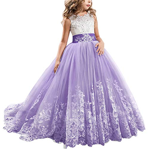 FYMNSI Flowers Girls Applique Tulle Lace Wedding Dress First Communion Birthday Christmas Prom Ball Gown Deep Purple 6-7T