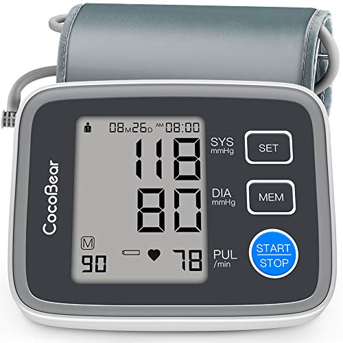 Blood Pressure Monitor -CocoBear Upper Arm Blood Pressure Cuff Monitor Digital Automatic BP Monitor for Home Use 2 90 Memory Storage with FDA CE RoHS Certification by CocoBear