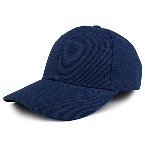 Trendy Apparel Shop Plain Youth Size Kid's Adjustable Structured Baseball Cap - Navy