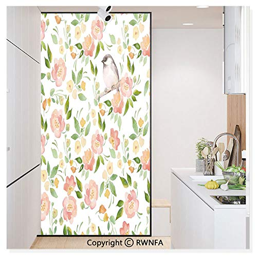 RWN Film Removable Static Decorative Privacy Window Films Flower Petals Blossoms Leaves and Bird Sitting Vintage Elegance Image for Glass (17.7In. by 78.7In),Coral Fern Green White