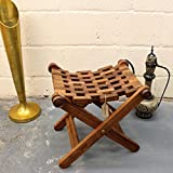 Maravi Wooden Folding Stool Hand Made Mesh Indian Sheesham Wood 45x43cm