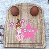 Personalised Breakfast Board, dippy Egg and Soldiers, Wooden Board, Cheerleader