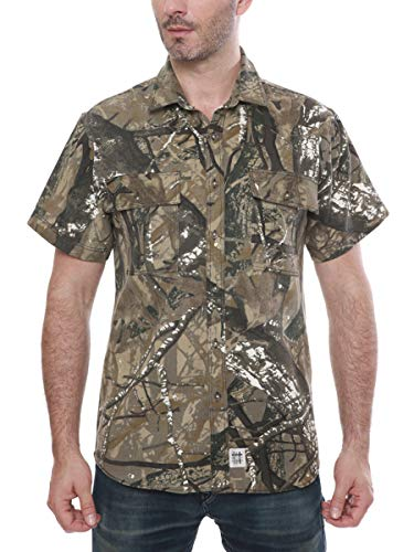 Men's Short Sleeve Canva Button-Up Work Shirt Forest Camo X-Large