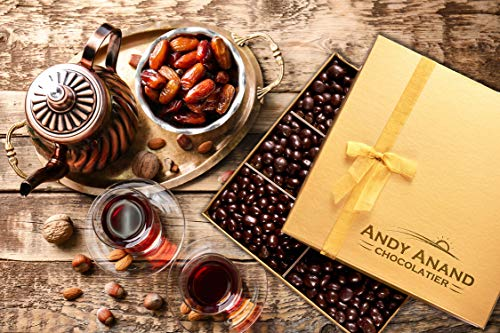 Andy Anand's Dark Chocolate covered Dates 1 lbs, Organic Simply Delicious- for Birthday, Valentine Day, Gourmet Christmas Holiday Food Gifts, Thanksgiving, Halloween, Mother day, Fathers Day, Get Well
