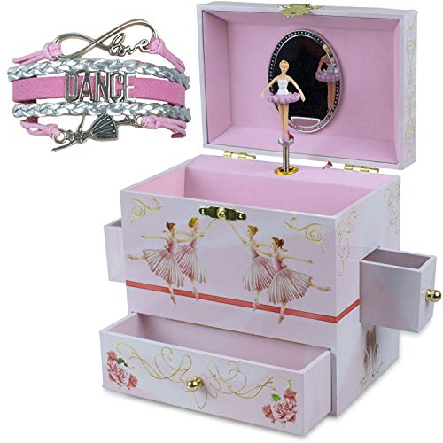 ShameOnJane Ballerina Jewelry Box and Music Box for Girls with Four Drawers and The Music of Swan Lake, a Great Toy for a 5 Year Old Girl or First Jewelry Box for Little Girls - Bonus Dance Bracelet! ()