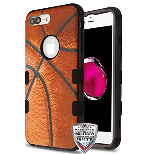 Case+Tempered_Glass+Stylus, TUFF Hybrid Protector Cover [Military-Grade Certified] Fits Apple iPhone 7 Plus/8 Plus (Also Fits iPhone 6 Plus/6S Plus,Cannot Use Ear Phone) MYBAT Basketball Sport-Brown