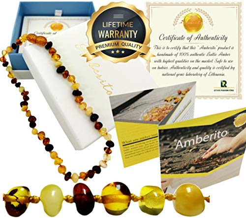 Amberito Baltic Amber Teething Necklace for Babies (Multi) Natural Anti-Inflammatory Amber Beads| Holistic Jewelry and Drooling Support | Quick Fasten Easy-Clasp | for Baby, Toddler Girl and Boys