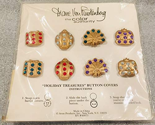 Holiday Treasures Button Covers by Diane von Fuerstenberg for Avon Gold Gem Christmas 40875 ()