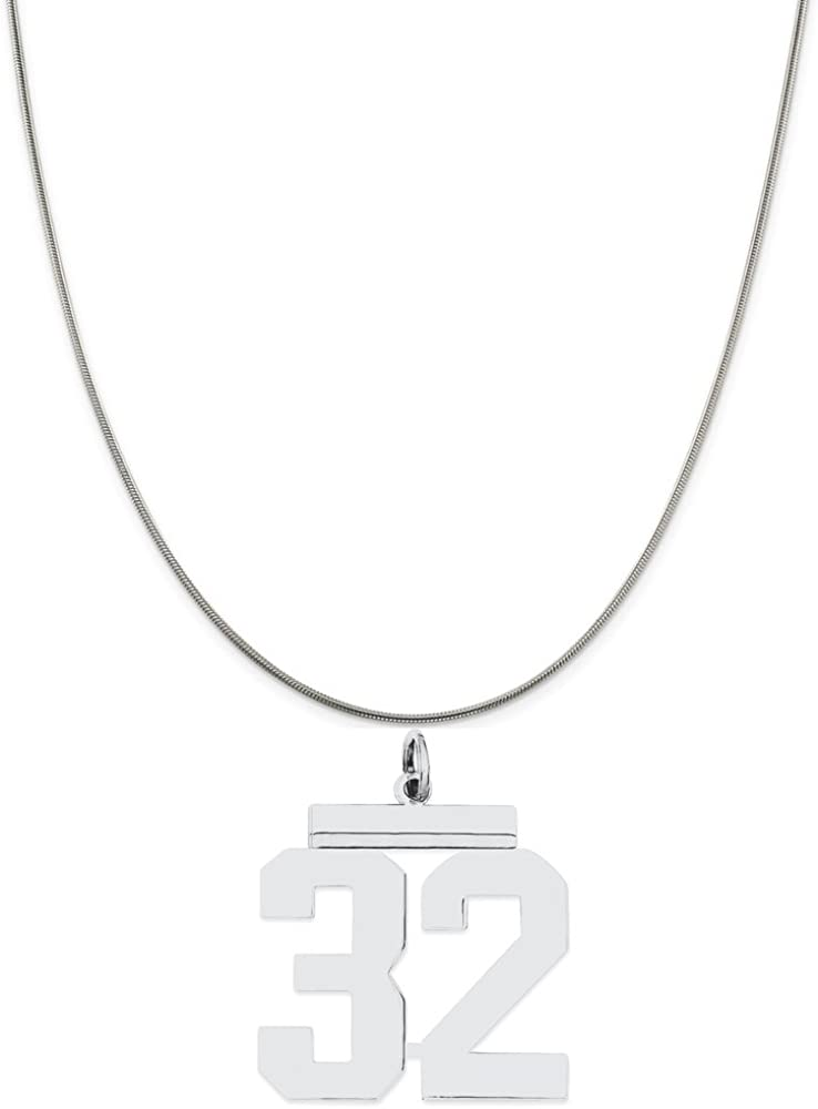 Sterling Silver Large Polished Number 32 on a Sterling Silver Cable Snake or Ball Chain Necklace
