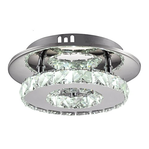 Modern Crystal Chandelier Lighting TOPSHARP LED Ceiling Lamp Light Pendant Lamp Fixture for Bedroom, Bathroom, Study, Aisle, Hallway (White Light) (Fixtures Pendant Bedroom Light)