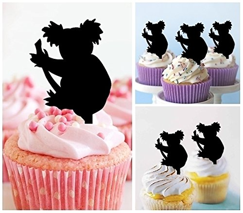 TA0359 Australia Cute Koala Bear Silhouette Party Wedding Birthday Acrylic Cupcake Toppers Decor 10 pcs by jjphonecase (Image #1)'