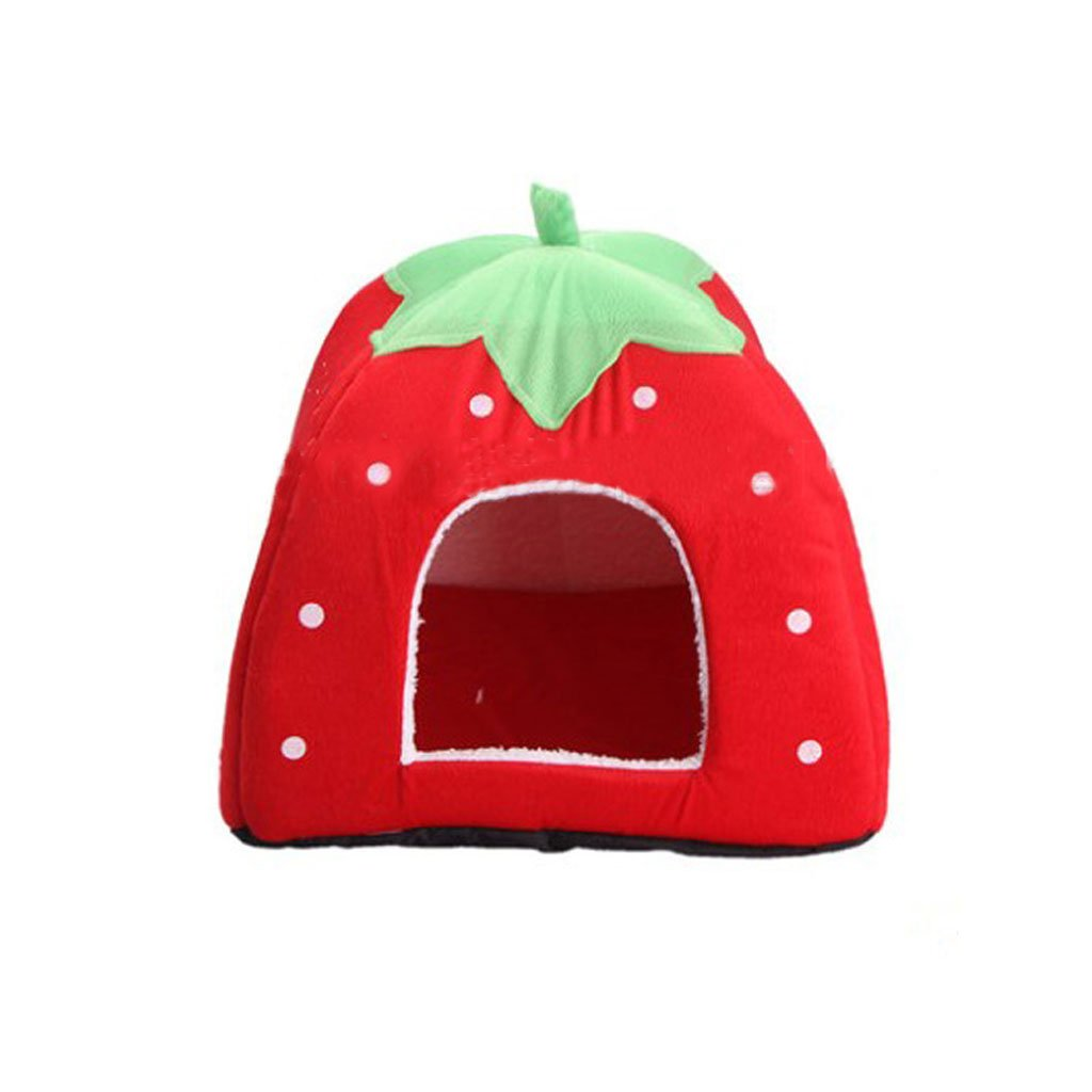RED M RED M Moolo Pet Bed Printing Short Plush Dog House Waterproof Anti-slip Four Seasons Universal Soft Comfortable Cool Breathable Dog Bed (color   RED, Size   M)