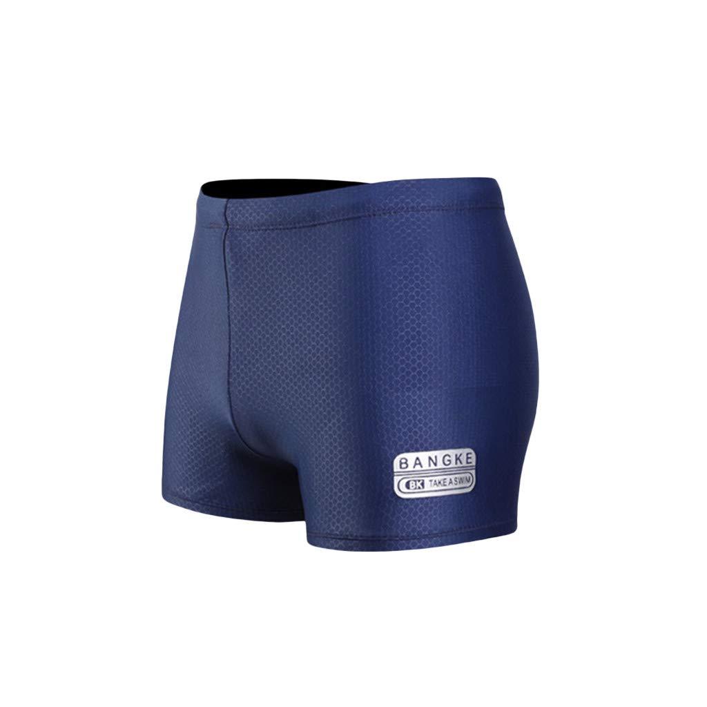 nanzhushangmao Mens Nylon Stretchable Compression Boxer Brief Swimming Trunks Swim Cap Suit